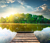 Fishing pier on a river at the sunrise