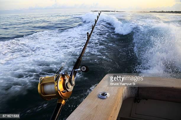Fishing pole on a sports fishing boat