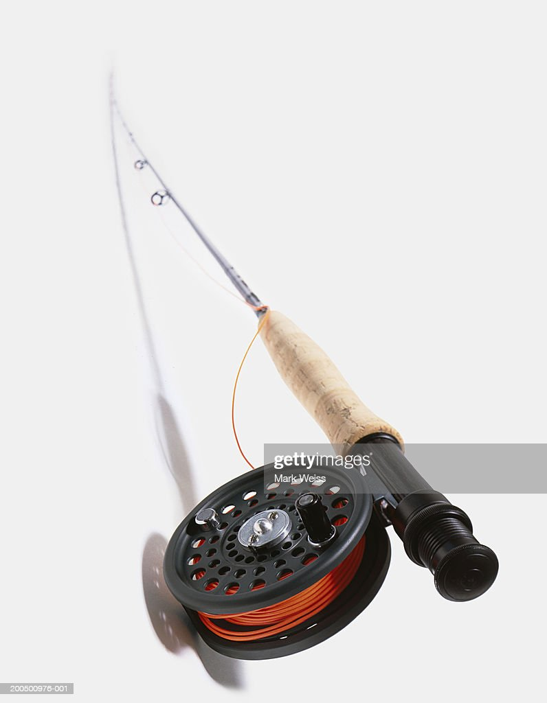 Fishing rod and reel with red line
