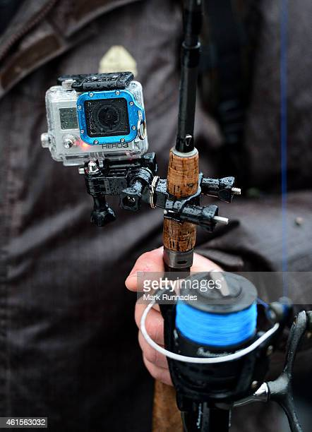 A fishing rod with a GoPro camera attached prepares to fish during the traditional opening of the river Tay Salmon Season on January 15 2015 in...