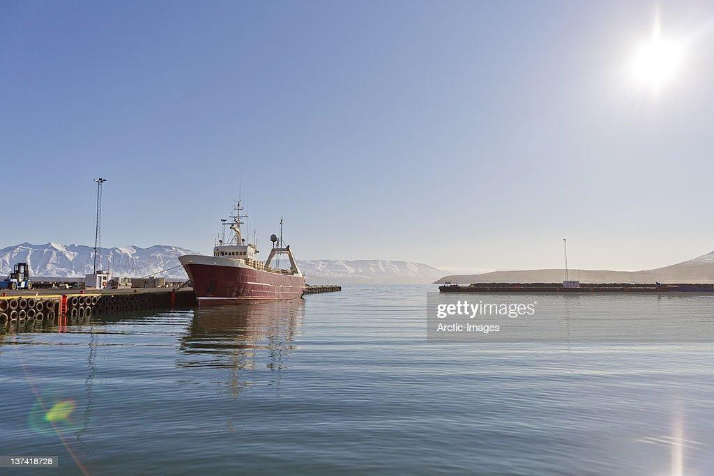 Fishing trawler in Dalvik Harbour, Iceland : Stock Photo