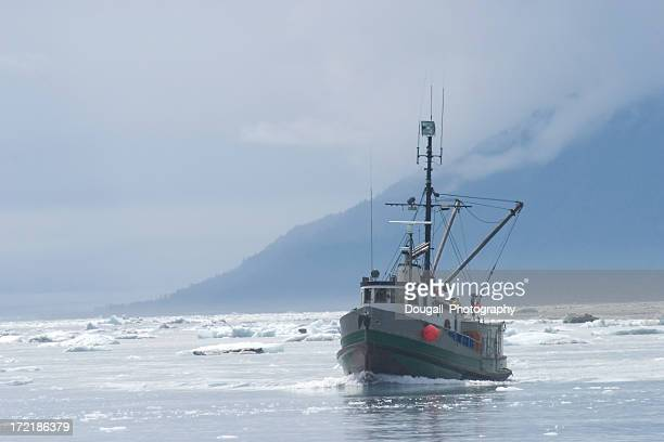 Fishing Trawlerr in Northern Ice Filled Water