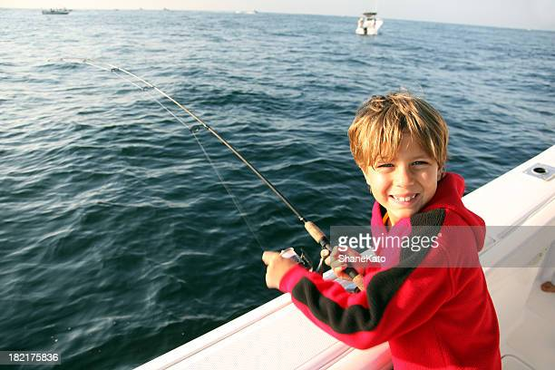 Fishing Vacation Cute Boy on Boat