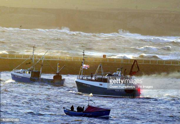 Fishing vessels at the mouth of the River Tyne where a flotilla of about 30 boats gathered before sailing upstream sounding their horns in a noisy...