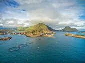Scenic aerial view of Mortsund, small fishing village on Lofoten in Norway