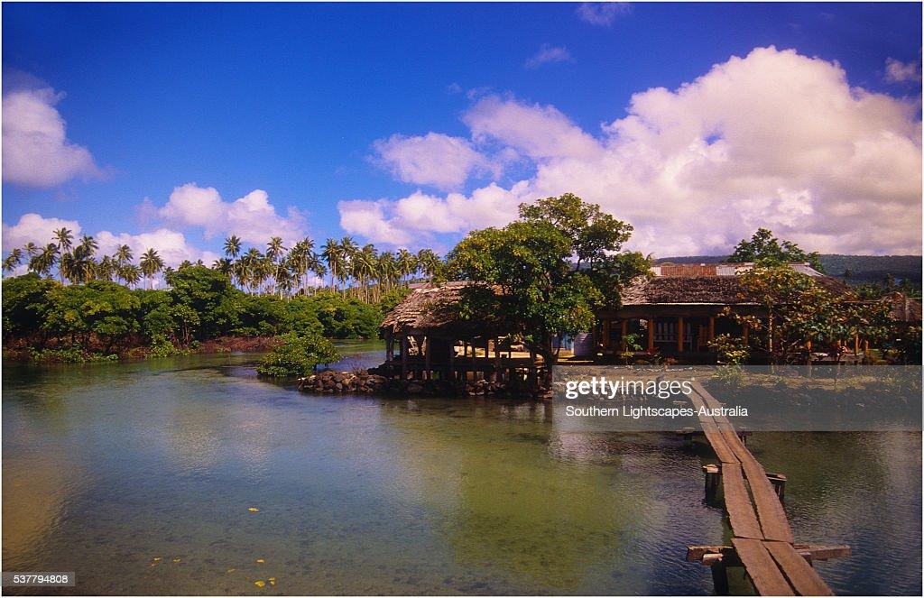 A fishing village on The Island of Upolu, Western Samoa.