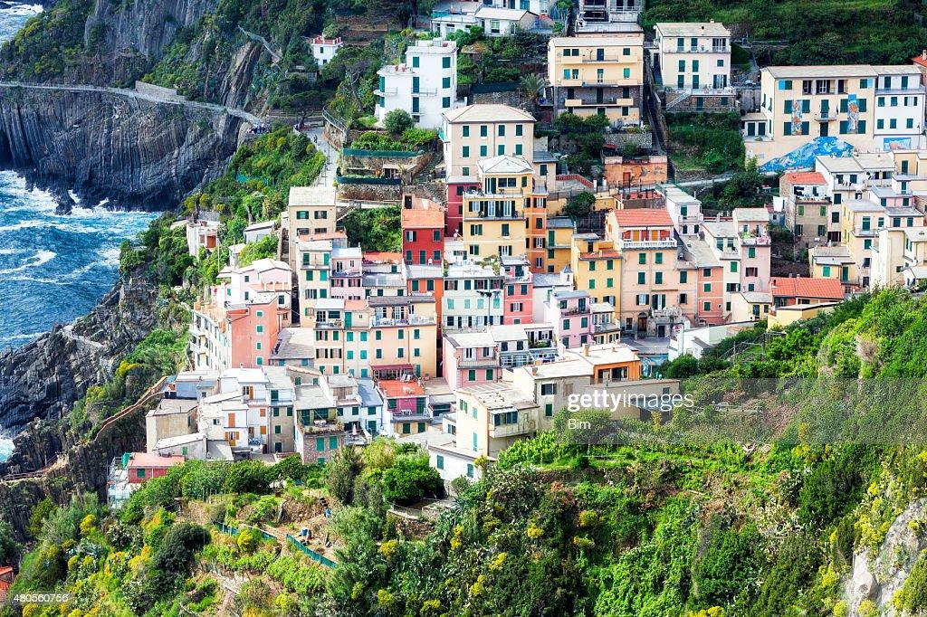 Fishing village Riomaggiore, La Spezia, Cinque Terre, Italy : Stock Photo