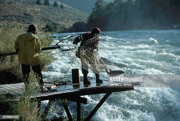 Fishing with Nets from Platform over River