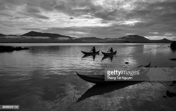 Fishingman on boat in Dam Nai lake, Ninh Thuan, Vietnam
