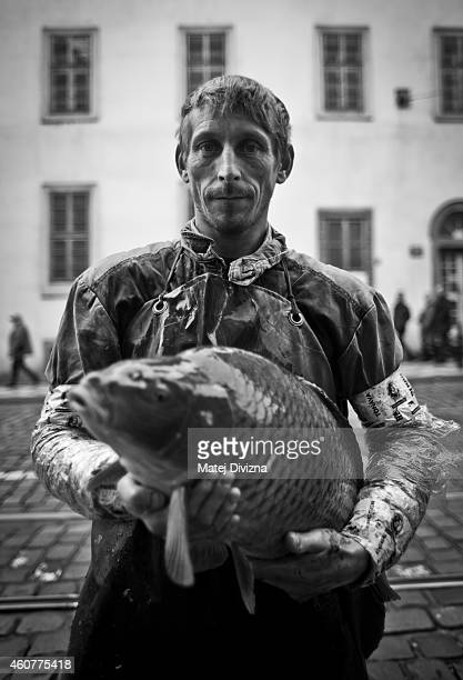 A fishmonger poses with a carp at his stall on December 22 2014 in Prague Czech Republic In the days before Christmas fishermen mostly from Southern...