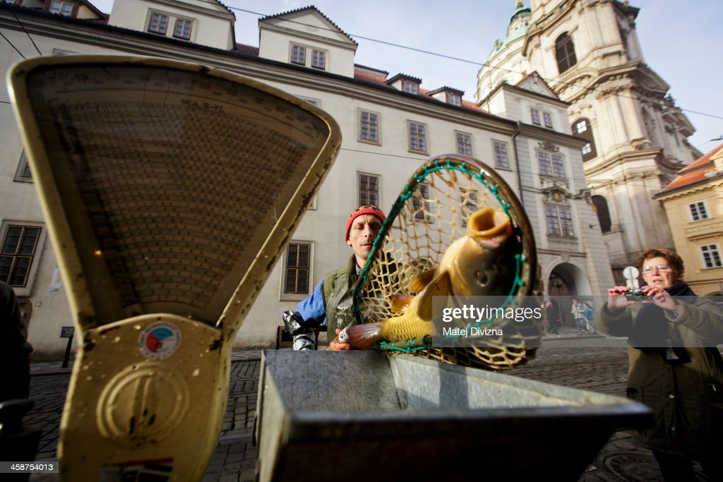 A fishmonger prepares to weight a carp at his stall on December 21, 2013 in Prague, Czech Republic. In the days before Christmas, fisherman from Southern Bohemia sell their live fish on street corners for use in the traditional Czech Christmas dishes of fried carp, potato salad and fish soup.