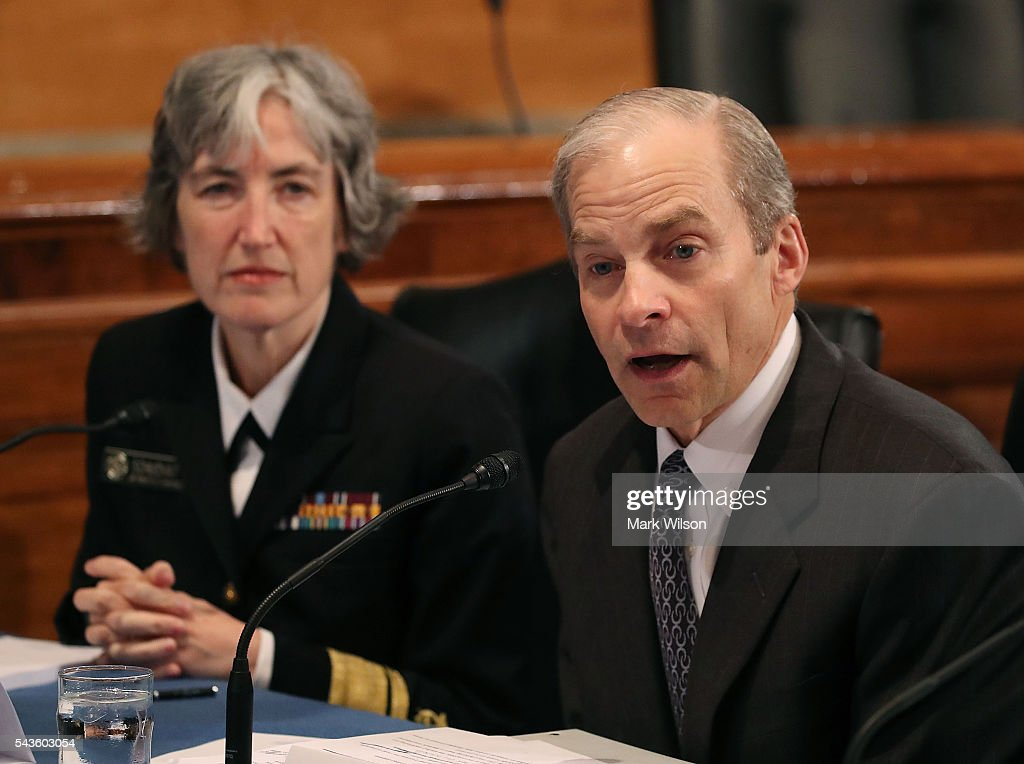 H. Fisk Johnson, (R), chairman and CEO of S.C. Johnson & Son speaks while flanked by Navy Rear Adm. Anne Schuchat, principal deputy director of the Centers for Disease Control and Prevention, during a Senate Homeland Security and Governmental Affairs Committee round table discussion on the Zika Virus, June 29, 2016 in Washington, DC. The committee hosted the discussion to learn how to prepare and protect the nation from the Zika Virus.