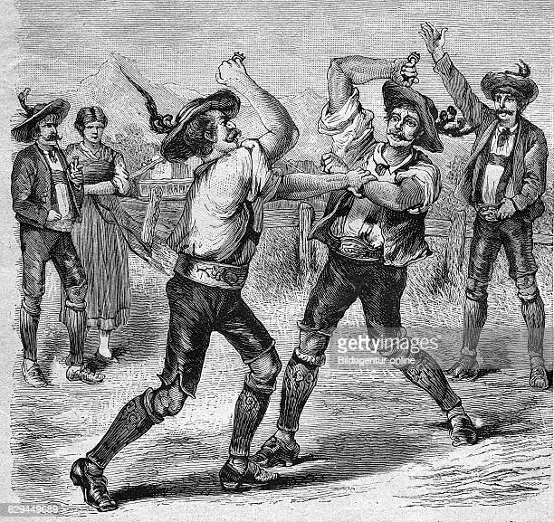 Fist fight with brass knuckles in tyrol historical engraving 1888