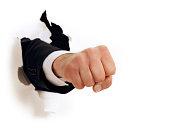 Fist Punch Through White Paper