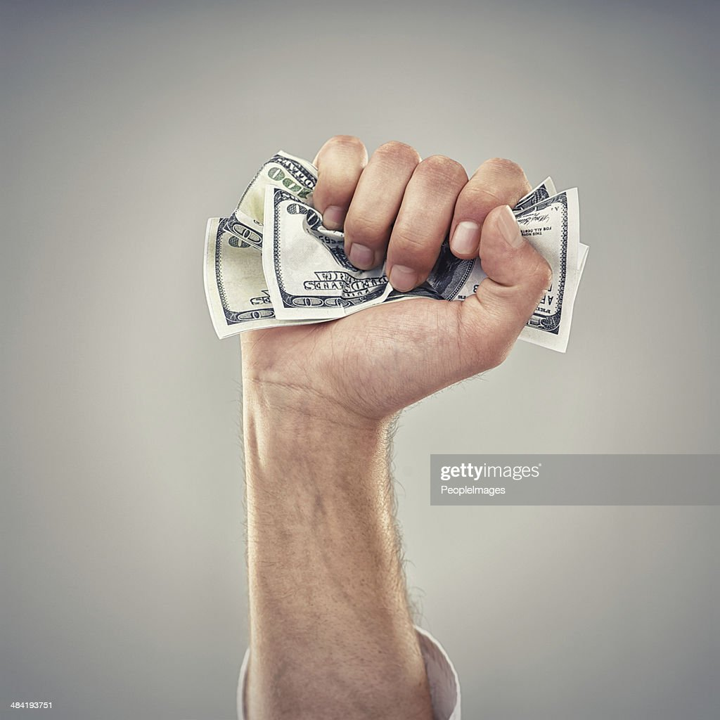 Fistfull of dollars! : Stock Photo