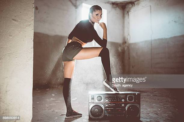 Fit girl by radio