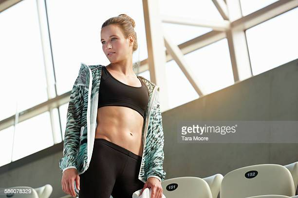 fit sports woman in stadium