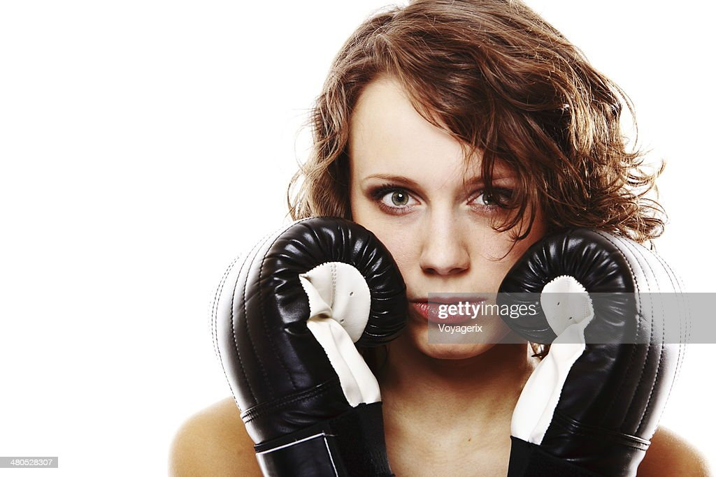 Fit woman boxing - isolated over white : Bildbanksbilder