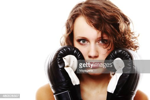 Fit woman boxing - isolated over white : Stock Photo