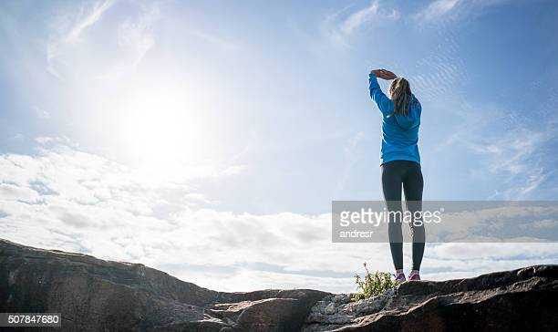 Fit woman exercising outdoors