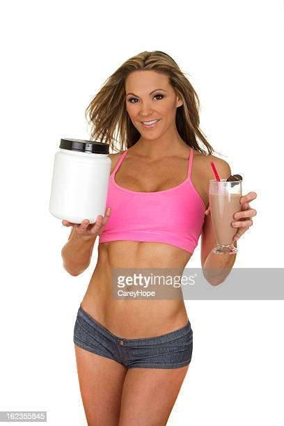 fit woman with weight loss product