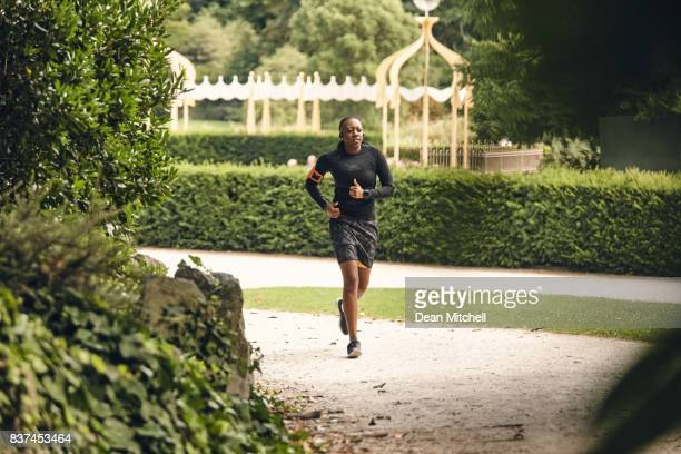 Fit women during morning run at the park