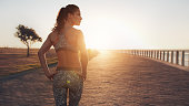 Rear view shot of fit young woman in sportswear walking along a road and looking away. She is walking on seaside promenade during sunset.