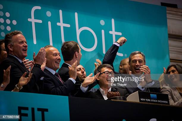 Fitbit Chief Executive James Park rings the bell for the company's IPO debut at the New York Stock Exchange on June 18 2015 in New York City Fitbit...