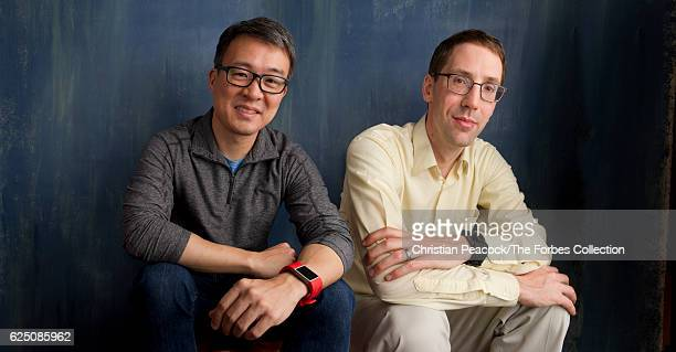 FitBit founders James Park and Eric Friedman are photographed for Forbes Magazine on December 15 2015 in San Francisco California PUBLISHED IMAGE...