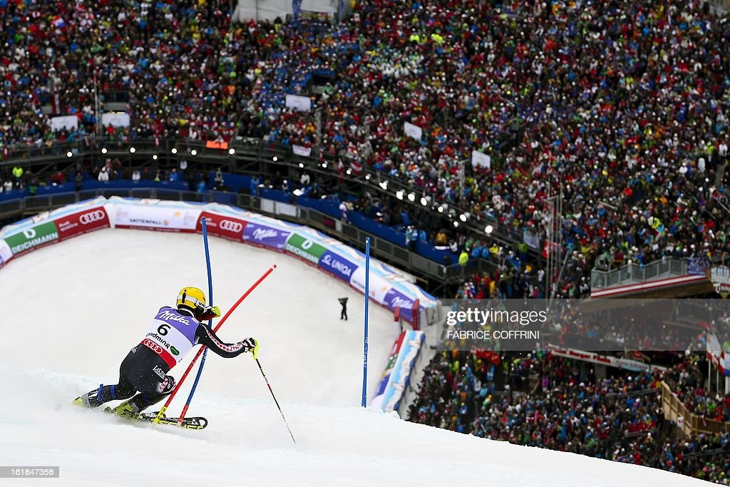 Fith placed Croatia's Ivica Kostelic competes the second run of the men's slalom at the 2013 Ski World Championships in Schladming, Austria on February 17, 2013. AFP PHOTO / FABRICE COFFRINI