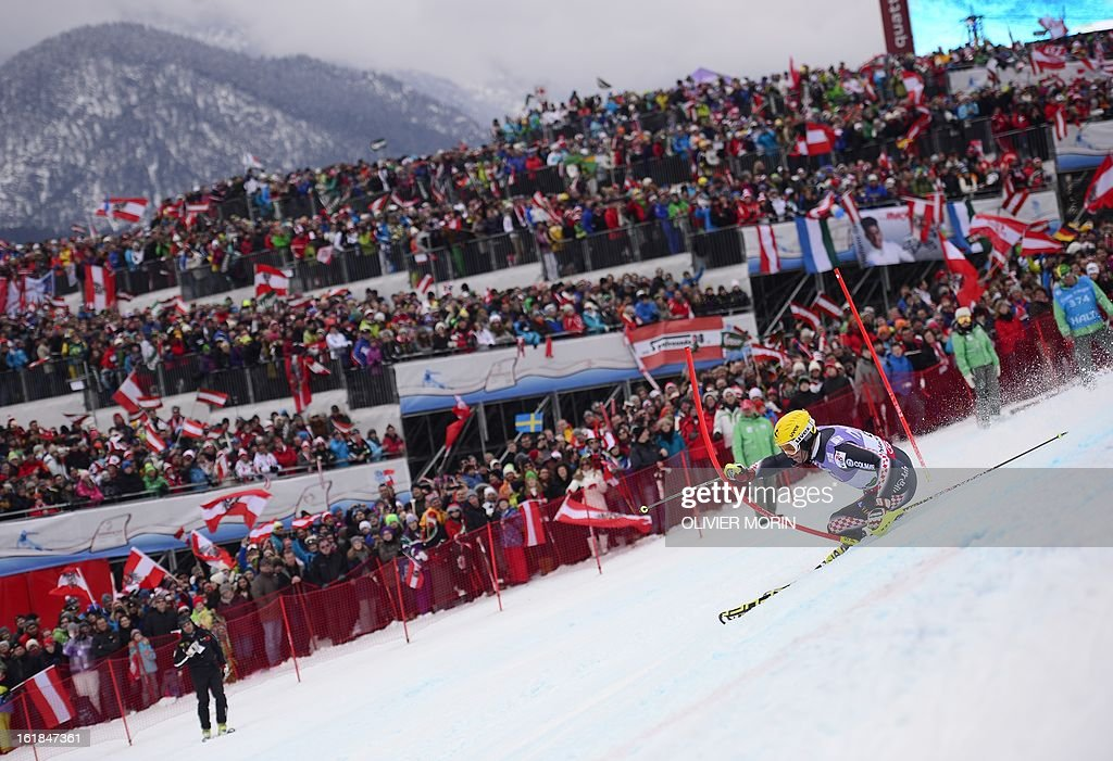 Fith placed Croatia's Ivica Kostelic competes the second run of the men's slalom at the 2013 Ski World Championships in Schladming, Austria on February 17, 2013. AFP PHOTO / OLIVIER MORIN