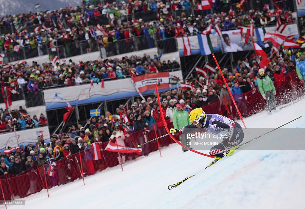Fith placed Croatia's Ivica Kostelic competes the second run of the men's slalom at the 2013 Ski World Championships in Schladming, Austria on February 17, 2013.