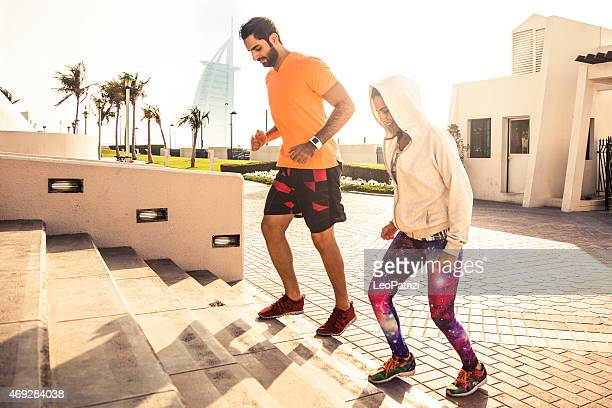 Fitness and exercising on steps in Dubai - Sporty People