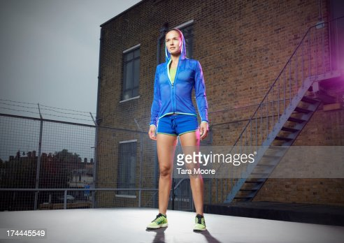 fitness athlete in rooftop