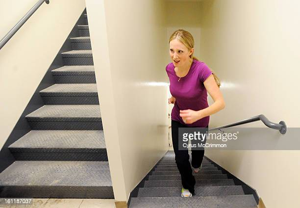 A fitness class at Bonza Bodies at 1800 Glenarm in downtown was training in the stairwell of the building to get ready for the stair climb at the...