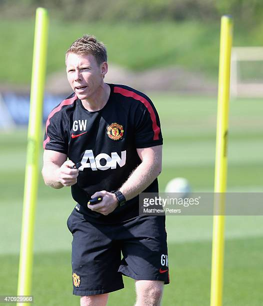 Fitness coach Gary Walker of Manchester United in action during a first team training session at Aon Training Complex on April 24 2015 in Manchester...