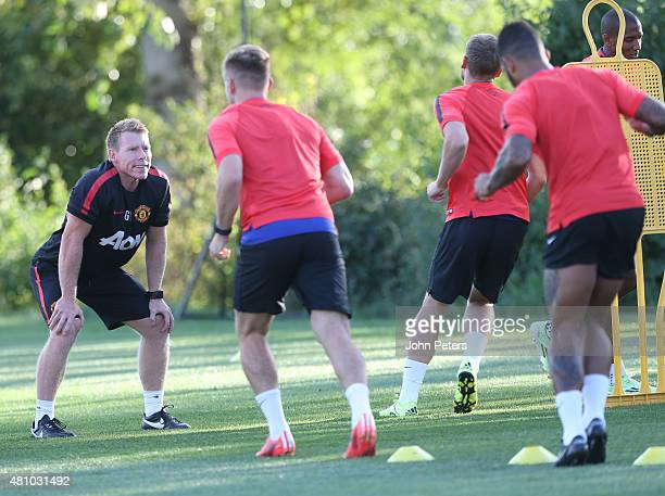 Fitness coach Gary Walker of Manchester United in action during a first team training session as part of their preseason tour of the USA at VMAC on...