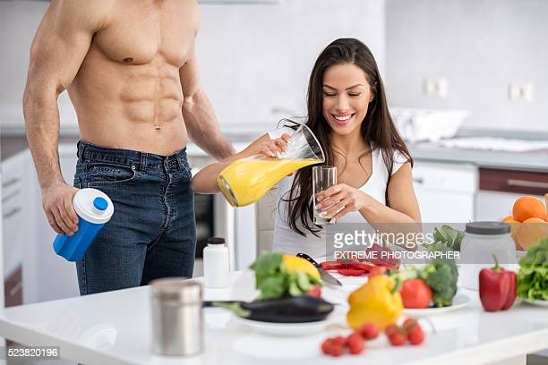 Fitness couple in the kitchen