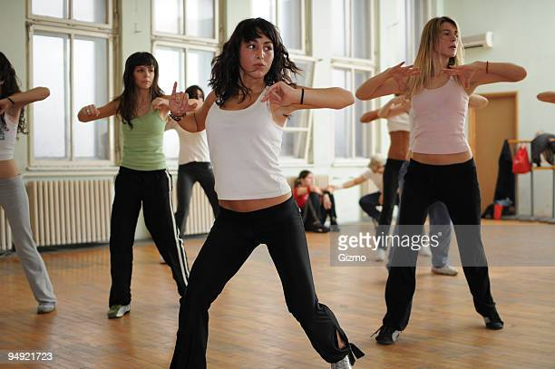 Fitness dance with women in class