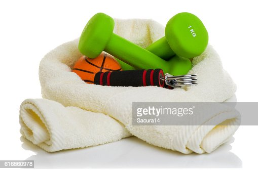 fitness equipment isolated on white : Stock Photo
