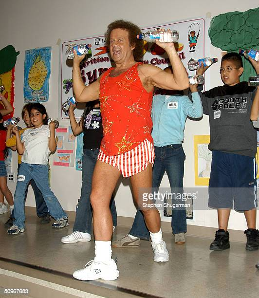 Fitness expert Richard Simmons leads students in exercise at the Third Annual Nutrition Advisory Council Symposium sponsored by LAUSD Nutrition...