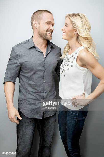 Fitness experts Chris and Heidi Powell are photographed for TV Guide Magazine on January 14 2015 in Pasadena California