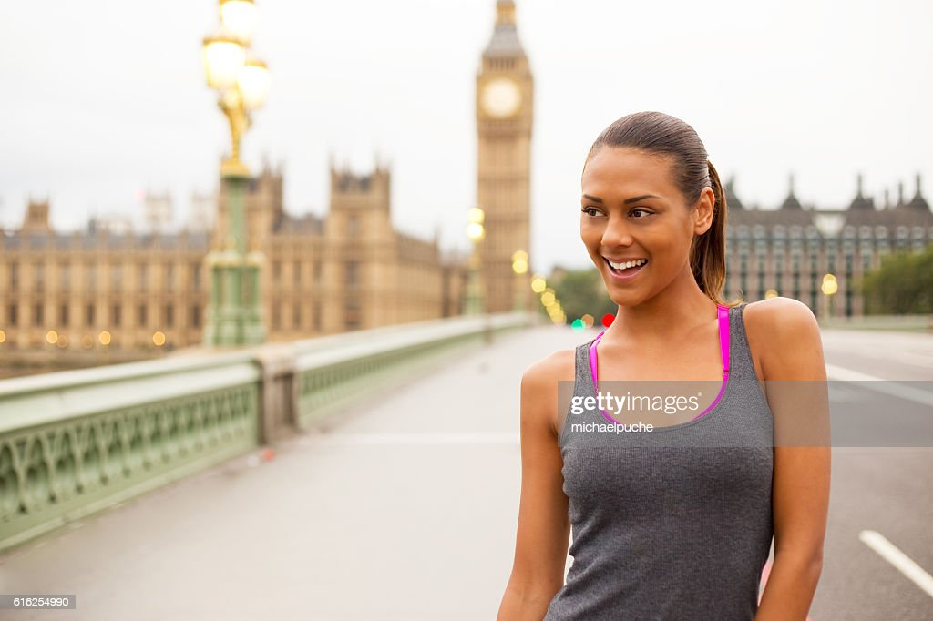 fitness girl in london : Foto de stock