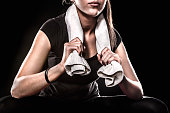 Power Fitness Girl With Towel On Black Background