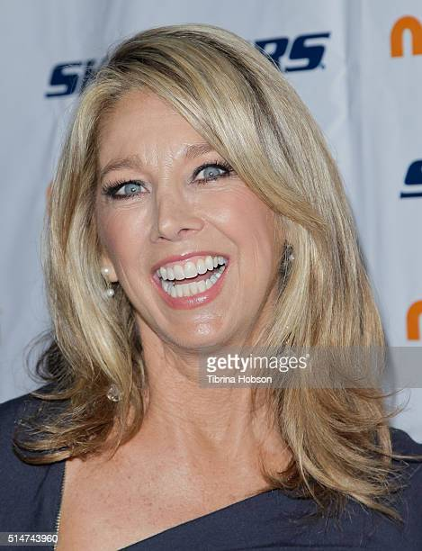 Fitness instructor Denise Austin attends the 7th annual SKECHERS Pier To Pier Walk Check Presentation at Shade Hotel on March 10 2016 in Manhattan...