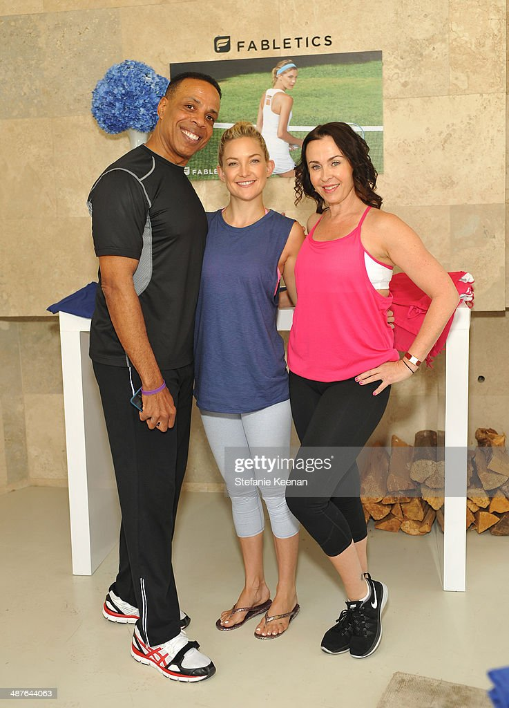 Fitness instructor Dion Jackson, actress <a gi-track='captionPersonalityLinkClicked' href=/galleries/search?phrase=Kate+Hudson&family=editorial&specificpeople=156407 ng-click='$event.stopPropagation()'>Kate Hudson</a> and fitness instructor Nicole Stuart celebrate the Fabletics Spring Collection on May 1, 2014 in Los Angeles, California.