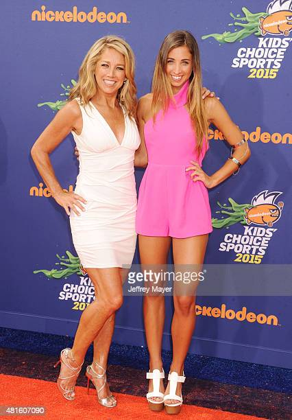 Fitness instructors Denise Austin and Katie Austin arrive at the Nickelodeon Kids' Choice Sports Awards 2015 at UCLA's Pauley Pavilion on July 16...