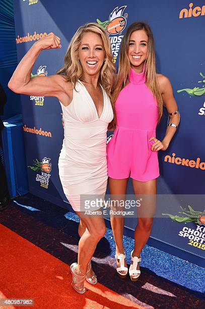 Fitness instructors Denise Austin and Katie Austin attend the Nickelodeon Kids' Choice Sports Awards 2015 at UCLA's Pauley Pavilion on July 16 2015...