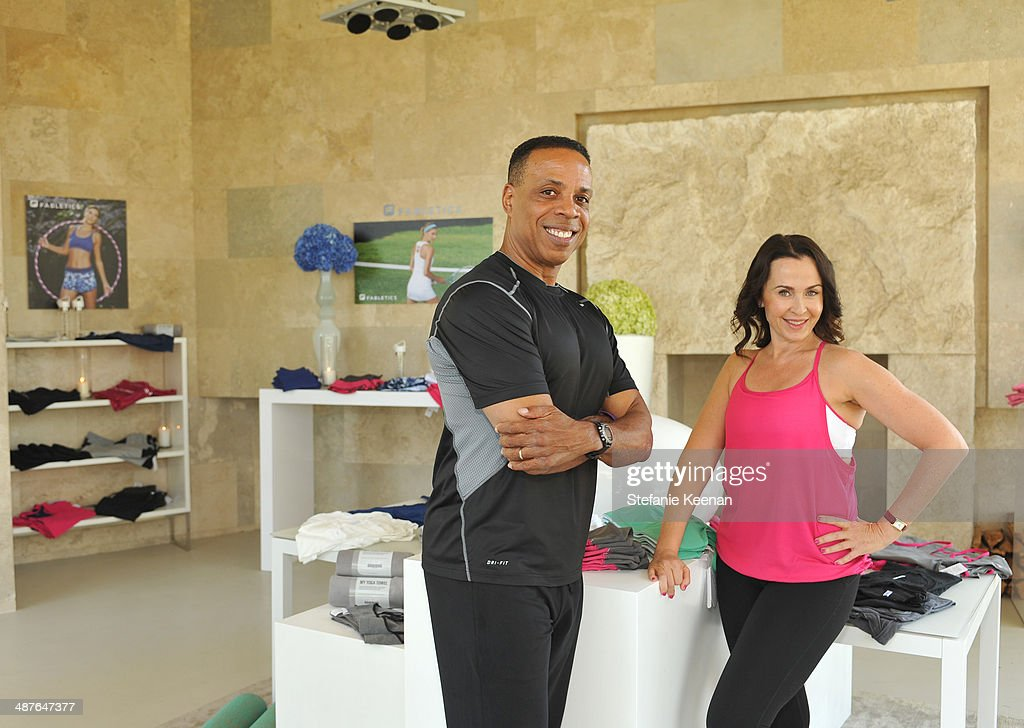 Fitness Instructors Dion Jackson (L) and Nicole Stuart attend Kate Hudson Celebrates the Fabletics Spring Collection on May 1, 2014 in Los Angeles, California.