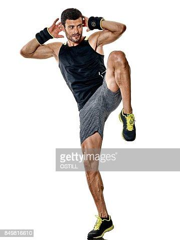 fitness man cardio boxing exercises isolated : Stock Photo